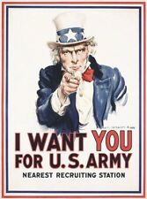 "TARGA VINTAGE ""I Want You For The US Army"" Pubblicità, ADVERTISING,POSTER, PLATE"