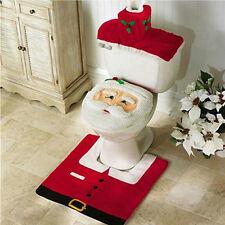 Happy New Year Santa Toilet Seat Cover & Rug Bathroom Set Christmas Decorations