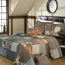 OVER-SIZED XXL GREY BROWN VINTAGE PATCHWORK CABIN BEDSPREAD QUILT SET KING size