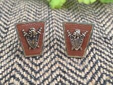 "Vintage Coat of Arms GOLD CUFFLINKS WITH LEATHER LOOK PATENT PENDING 3/4"" W"