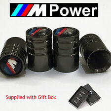 BMW M-Power Deluxe Black Chrome Wheel Valve Dust Caps. M3 M5 M-Sport M6 X3