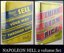 NAPOLEON HILL Think and Grow Rich & Sell Your Way Through Life 1958/62 RARE vtg