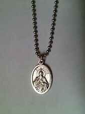 "St Jude Medal Necklace Stainless Steel Ball Chain 30"" Prayer Card HOPELESS CASEs"