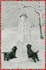 Cairn Terrier Dogs vs Snowman 1934  TARTAN. Kirmse ~ LARGE New Blank Note Cards
