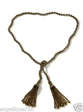 "Heidi Daus Georgian Lace Tassel Lariat Necklace Smoke Color 40"" Long SWAROVSKI!!"