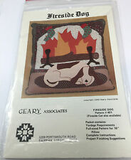 Fireside Dog Applique Sewing Pattern 16 Inch Pillow Wall Hanging Quilt 1983 OOP