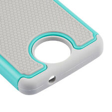 For Nokia Lumia 650 HARD & SOFT RUBBER RUGGED HYBRID CASE COVER TEAL GRAY ARMOR