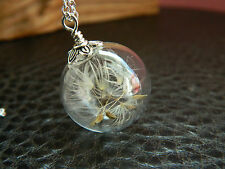 925 argento Sterling Vero Dandelion Seeds vetro ORB necklace.make a wish.handmade