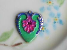 Vintage Patina Charm Brass Heart Connector enamel Flower Gilted #1182F
