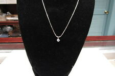 INCREDIBLE 14 KT WHITE GOLD .25 CTS G SI2 DIAMOND SOLITAIRE NECKLACE & CHAIN