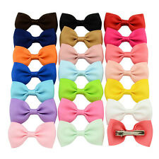 20pcs Simple Colors Kids Baby Girl Rib Flower Elastic Headband Hair Bows Clips