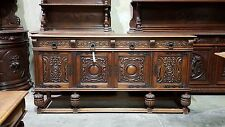 5508009 : Large Antique Spanish Style Carved Oak Sideboard Buffet Cabinet
