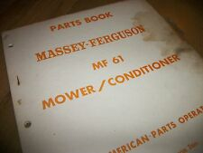 "Massey-Ferguson MF61. mower/ conditioner ""PARTS BOOK""1st.print 1967"