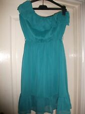 ASOS JADE GREEN CRINKLE SHEER FLOATY GYPSY BOHO ONE SHOULDER RUFFLE FRILL DRESS