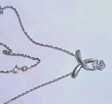 Sterling X Pendant Necklace & Rope Chain Vintage Marquise Diamonte CZ 1.00ct