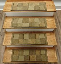"""Rug Depot 13 Contemporary Carpet Stair Treads 26"""" x 9"""" Staircase Rugs Beige Poly"""