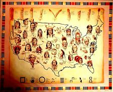 "Native American Indian:  ""  Map Of Tribes  ""   (  Nice Large 8 x 10  New  )"