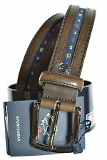 PAUL & SHARK BELT LEATHER SIZE 140 shortened  Gürtel  6102 COL. 591 BROWN
