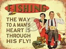 Fishing, Flys Tackle 50s Retro Humor Funny, Garage or Shed, Small Metal/Tin Sign