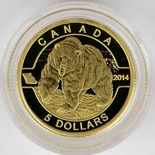 """Canada 2014 The Grizzly Bear 1/10 oz Pure Gold Coin #1 """"O Canada"""" $5 Gold Series"""