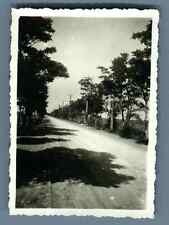 China, Railway and road route  Vintage silver print. Vintage China. 中国葡萄酒   Ti
