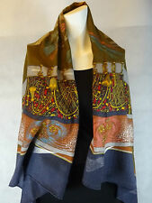 AUTH Hermes ' Feux d'Artifice ' GM Cashmere Shawl
