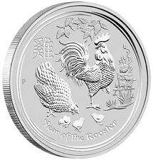 LUNAR YEAR OF THE ROOSTER - 2017 1 oz Pure Silver BULLION BU Coin - Perth Mint