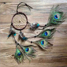 Handmade Dream Catcher Peacock Feather Car Wall Hanging Decoration Ornament