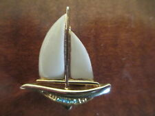 Danecraft, Signed Sail Boat Brooch, Gold-Tone with Rhinestones