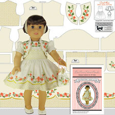 """18"""" Doll Clothes Kit, Cotton Coral Rose Princess Outfit - Tea Time Fabric Panels"""