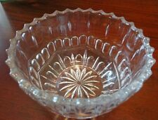 Clear Glass Floral Bowl Star Bottom Scalloped