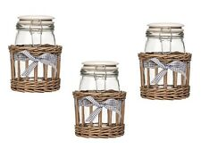 Set of 3 Country Cottage Storage Jar Glass With Grey Willow Basket 1000ml Jars