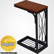 Living Room TV Snack Tray Table Sofa Bed Side End Wood Top Furniture Heavy Duty
