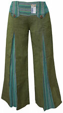 Green Loose Flared Vintage Retro Cotton Ladies Pants Summer Lounge Boho Trousers