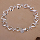 HOT Women Silver Plated Heart String Charm Chain Bracelet Jewelry Gift