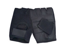 """Leather Mesh Fingerless Men""""s Weight Lifting Exercis Gym Wheelchair Black Gloves"""