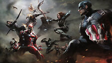 Poster 42x24 cm Capitan America Iron Man Vision Black Panther Civil War 04