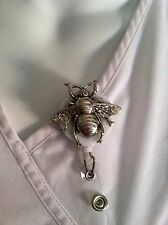 Silver Metal Bumble Bee ID Badge Holder Nurses Teachers Offices Alligator Clip