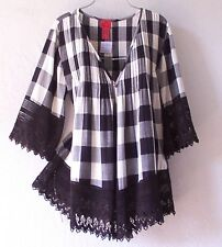NEW~Black Ivory Gingham Crochet Lace Peasant Blouse Duster Shirt Top~16/18/14/XL