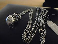 """unique sculpted detailed 3 D .925 Silver plated Heart necklace 27"""" GOTHIC"""