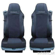2X BLACK NEW QUALITY SEAT COVERS SET TAILORED FOR MAN TRUCK TGA TGL TGX TGS