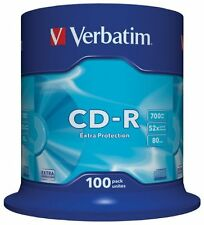 Verbatim 43411 CD-R Extra Protection Recordable CD Discs 80min 700MB 100 pack