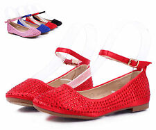 Red nn Blink Cute Buckle Princess Kids Flats Girls Youth Dress Shoes Size 3