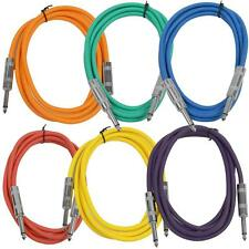 "SEISMIC AUDIO New 6 PACK Colored 1/4"" TS 6' Patch Cables - Guitar - Instrument"