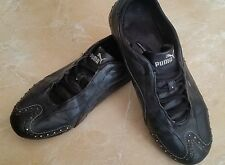 Puma Black Leather Trainers Crystals Womens Girls Size 4.5 Foot Locker RRP £65