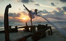 Framed Print - Ballerina Pirouetting on the Beach (Picture Poster Dancing Art)