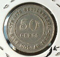 Old Collection Straits  KGV 50cents1920 Silver coin high grade! lustre?? scare!
