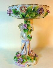 Antique Putto CHERUB Compote Tazza Dresden Style Sitzendorf German Flowers