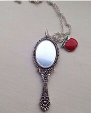 "Snow White Handheld Real Mini Mirror with Red Apple 24"" Necklace"