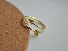 Simple Punk Design Women Lady Gold Opened Arrow of Love Bow Adjustable Ring Gift